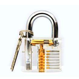 2019 goso pin lock pick Venta caliente Lockmaster 7 pines Práctica de corte transparente Claro candado de acrílico con Locker Master Key para herramientas de práctica de lockpicking