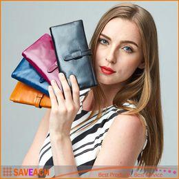 Wholesale Women Purse Wrist - women men genuine leather cowhide wrist clutch hasp handbag checkbook organizer Lady purse Women Wallet Card Holder