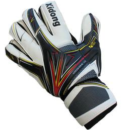 Wholesale Best Leather Gloves - White Soccer goalie gloves Full latex Cool All size goalkeeper hand Quality football game goaltender Best finger protection