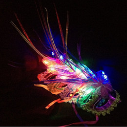 Wholesale Led Costumes For Women - Wholesale-Ladies LED Light Up Peacock Masks Mask for Mardi Gras Masquerade Party Halloween Women Girl