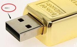 Wholesale Gold Bar Flash Memory - DHL shipping Gold bar 64GB 128GB 256GB USB Flash Drive in metal Pen Drive USB Memory Stick Drive Pendrive2016 new arrived