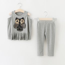 Wholesale Christmas Babies Autumn Outfits Sequined Owl Off shoulder T shirts with Casual Cotton Pants Children s Fashion Cartoon Sets