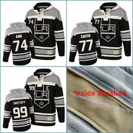 3257b434b S-3XL 74 Dwight King 77 Jeff Carter 99 Wayne Gretzky Mens Los Angeles Kings  Hockey Hoodie Stitched Jersey Hoodies Black Sweatshirts