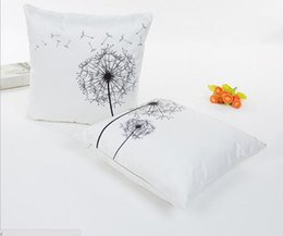 Wholesale Flower Pillow Pattern - Environmental protection digital printing dandelion pattern pillowcase Imitated Silk Fabric flower pillow cases Office home sofa seat cushio