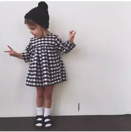 Wholesale Baby White Plaid Dress - 2017 Spring Fall INS baby girls dress little girl black white plaid toddler dress Cute high-waist long sleeve 100%cotton 1T 2T 3T 4T 5T 6T