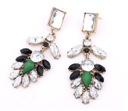 Wholesale Hot Dinner Dresses - Hot Sale Spring Summer Earring European Fashion Jewelry BlingBling Crystal Black Green Rhinestone Earrings Women Dinner Dresses Accessories