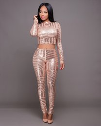 Wholesale Striped Party Dress - 2016 HOT Women New Fashion Sequined Sexy Jumpsuits Ladies 2 Pieces Party Bodycon Bandage Bodysuits Skinny Club Vestidos Rompers dress