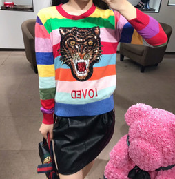 Wholesale Sweater Rainbow Woman - Autumn and winter new embroidery letters sequinned the rainbow striped knitwear of a knitted sweater with a turtleneck and a turtleneck
