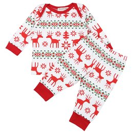 Wholesale Little Girls Christmas Pajamas - Christmas Family Pajamas 2017 Little Baby Girls Cotton Cartoon Sets Toddler Fashion Casual Outfits Babies Autumn Clothes