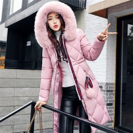 Wholesale Ladies Winter Hooded Coats - New autumn and winter cotton clothing women long sleeves coat ladies cotton clothing women down jacket