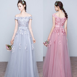 cf2d7d89328 2016 Vintage Prom Dresses Long Formal Evening Party Gowns Off the Shoulder  Lace Appliques Lace-up Back Floor Length Silver Grey Coral Pink