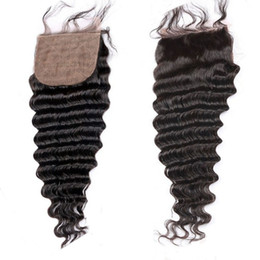 Wholesale Deep Wave Top Base Closure - Top Silk Base Closure Brazilian Hair Deep Wave Free Middle 3 Part Silk Base Closures With Baby Hair Silk Top Closures