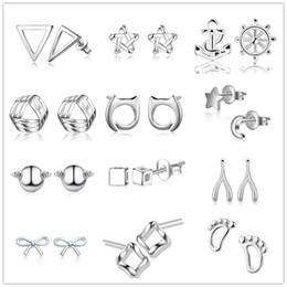 Wholesale Earrings Feet - mixed 12 styles 925 Sterling Silver Small Pearl Stud Earrings Triangle geometry moon Star foot anchor earrings Women Ear Jewelry ED214