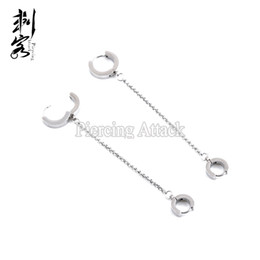 Wholesale Surgical Earrings Hoop - 316L Surgical Steel Earring Hoop with Chain New Arrival Fashion Jewelry Lot of 10pcs Free Shipping