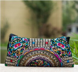 Wholesale Hmong Embroidered - Wholesale-National Ethnic Vintage embroidery bag Embroidered one-shoulder messenger bag Hmong Handmade women's small Clutch handbag