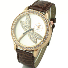 Wholesale Cute Yellow Dresses For Women - Cute Dragonfly Design Brand New Crystal Watch for Woman Luxury Leather Belt Casual Sport Watch Women Fashion Dress Watch