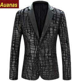 Wholesale Two Button Leather Jacket - Fashion Men Blazer Jacket 2016 New Brand Casual Faux Leather Spliced Velvet Suit Fashion Pieces Design Spring Autumn Blazers Outwear