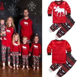Wholesale Sleepwear Men Long Sleeve Cotton - 2017 new autumn warm fall winter xmas santa deer Christmas Family Women Men Adult Sleepwear Pajamas Set Striped Cotton Pyjamas 2pc Outfits