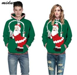 Wholesale Plus Size Snow Clothes - Plus Size Hoodies Winter Christmas Hoodies Women Men 3D Sweatshirts Funny Pug Snow Tree Hat Deer Cat Dog Santa Claus Casual Clothing Hoodie