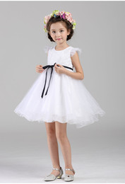 Wholesale New Baby Images Free - 2016 New Arrival White Tulle Pretty Flower Girl Dresses appliques Baby Girl Infant Dress Free Shipping