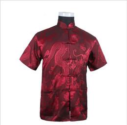 Wholesale Vintage Silk Shirt Xl - Wholesale- Burgundy New Vintage Chinese Men's Silk Satin Kung Fu Shirt Top with Pocket Size S M L XL XXL XXXL Free Shipping LD33
