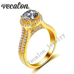 Wholesale 18k Wedding Yellow Diamond Ring - Vecalon Yellow gold Crown wedding ring for women Round 3ct Simulated diamond Cz 925 Sterling Silver Female Engagement Band ring