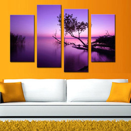 Wholesale Purple Wall Canvas - 4 Pieces Purple Lake Tree Painting Canvas Print Landscape Artworks Paintings on Canvas Wall Art for Home Wall Decoration NO Framed