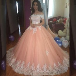Wholesale Peach Tulle Wedding Dresses - 2017 Puffy Lace Ball Gown Wedding Dresses Appliques Peach Coral Custom Colors Tulle Bridal Gowns Off the Shoulder Corest Back Sweep Train