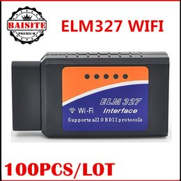 Wholesale Obd2 Adapter For Iphone - Lowest price!!!100pcs Auto diagnostic Scanner OBD2 OBDII OBD wifi wi fi elm327 elm 327 v1.5 Adapter interface Support Android IOS iphone
