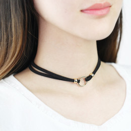 Wholesale Double Ring Chain Link - Best selling double black leather cord choker, black leather with gold color beads and round ring choker necklace CN009