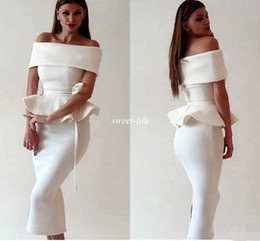 Wholesale Sexy Women Peplum Cocktail Dress - Cocktail Dresses White Satin Mermaid Prom Dress Arabic Dubai 2016 Women Off Shoulder Tea Length Back Slit Evening Occasion Gowns Party Wears