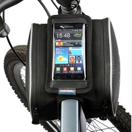 """Wholesale Top Tube Cycling Bags - Waterproof Cycling Bike Bicycle Front Bag Top Tube Frame Bag Double Pouch for 4.8-5.8"""" inch Phone"""