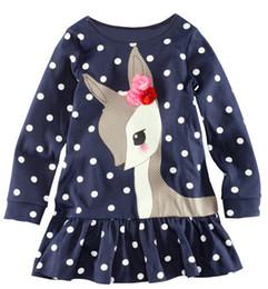 Wholesale Lining Tshirts - 2016 New Dot Girls Christmas Deer T Shirt Long Sleeve T-shirt Girl Clothes Outfits Dress Tshirts Kids Tee Shirt Girl Blouse