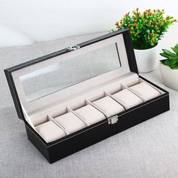 Wholesale Classic Watch Boxes - Wholesale-Classic 6 Grid Luxury Refinement Slots Wrist Watches Gift Case Jewelry Display Boxes Storage Holder Fast Free Shipping