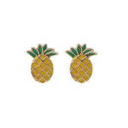 Wholesale Sweet Lovely Girls - Lovely Cartoon Pineapple Stud Earrings Women Girl Sweet Fruit Earrings Gold Color Delicacy Earring Fashion Jewelry Xmas Gift A125