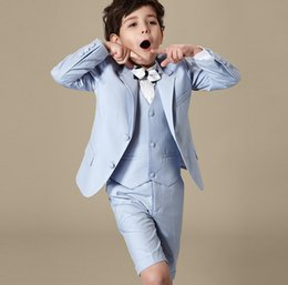 Wholesale Silver Kids Tuxedo - pure color Tuxedos Suits for Kids Fashion Boys Formal Wears 3Pieces Wedding Party Prom Children Attire fashion(Jacket+Pants+Vest)