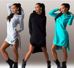 Wholesale Tall Women S Dresses - Free shipping Plus Size Tall waist Sexey Fashion new European couture autumn fashion irregular hooded long-sleeved dress fleece