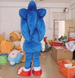 Wholesale Sonic Costumes For Adults - free shipping adult blue sonic mascot costume with mini fan inside the head for sale
