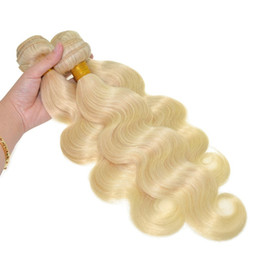 Wholesale platinum blonde hair extensions weft - 9A Russian Blonde Hair 3 Pcs Lot 100% Unprocessed Hair Body Wave Wavy 613 Platinum Blonde Human Hair Weave Weft Extensions