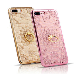 Wholesale Iphone Golden Cover - Luxury Golden Plate Glitter 3D Case For iPhone 6s Case Diamond Ring Stand Soft Back Cover For iPhone 7 8 Plus Cases Cover