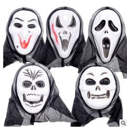 Wholesale Vampire Masks - 5 Styles Halloween Costume Party Mask Scary Vampire Witch Ghost Face Scream Mask with Hood Costume Masquerade Skull Mask CCA7259 1000pcs