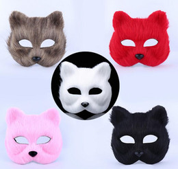 Wholesale Fox Films - Masculine masks animal animals men and women half face props toys Halloween fox mask G807
