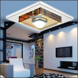 Wholesale Modern Crystal Chandelier Square - Modern Glass LED chandelier Light   Lamp  Lighting Fixture Square LED Crystal Lustre Lighting LED Aisle Light Porch Lamp Hallway