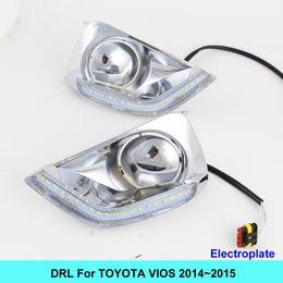 Wholesale Cars Toyota Vios - NEW Car DRL kit for TOYOTA VIOS 2014 2015 LED Daytime Running Light bar Turn Signal fog auto lamp bulb Daylight for car