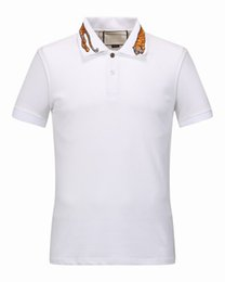 Wholesale Mens Summer Shirts Polyester - Classic Luxury Brand mens polo Summer Fashion Short Sleeve Embroidery Tiger Print polo shirt High quality Italy poloshirt shirt men
