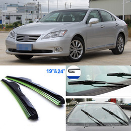 "Wholesale Wiper 19 - 2pcs 24""+19"" front windscreen windshield wiper blades Soft Rubber WindShield Wiper Blade For Lexus ES240"