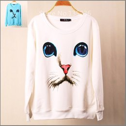 Wholesale Top Brand Women S Suits - New Fashion Brand Women Cartoon Cat Printed Sweatshirt Hoody Hoodies tracksuits Pullovers Sport Suit Tops Outerwear S M L