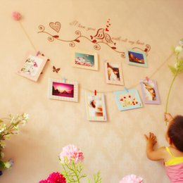 "Wholesale Hanging Rope Frame - Decoration Home Art Wall 8pcs 6"" Hanging Photo Picture Frames + Wood Clips& Rope"