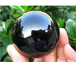 Pietra ossidiana nera online-New 40MM+Stand glass Black Obsidian Sphere Large Crystal Ball Healing Stone