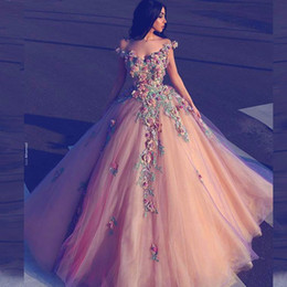 Wholesale Long Floral Prom Dress - Said Mhamad Floral Prom Dresses Ball Gown Colorful Appliques Off Shoulder Sleeveless Long Party Dresses Fluffy Tulle Glamorous Evening Dress